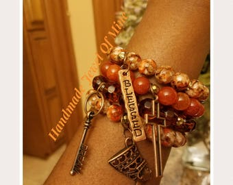 Bronze and Copper Beauties! Nefertiti Bracelets. Queen of Egypt Stack. Beautifully Handmade Gift For Her! Set Of 4!