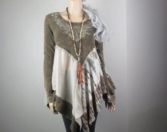 RESERVED for GP Lagenlook Boho Tunic Knit Khaki Brown Gypsy Junk Hippie Distressed Dyed Rustic Romantic One Size Fits S - L