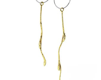Gold plated twig earings