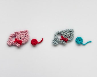 Instant Download - PDF Crochet Pattern - Little Cat Applique - Text instructions and SYMBOL CHART instructions