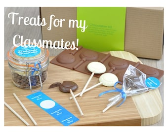 Classmates treats on childs birthday, Treats for school, Personalised chocolate Emoji lollipop, Mega chocolatier kit, Make your own treats