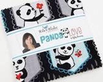 1 - 5 - inch stacker of Panda Love by Kelli Panacci for Riley Blake Red Black Pink Aqua Teal Panda fabric. charm pack 5-8040-42