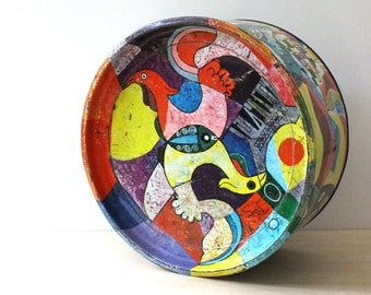 Filipino Scenes. Vintage mid century modern round collectible biscuit tin box.  Fibisco tin.