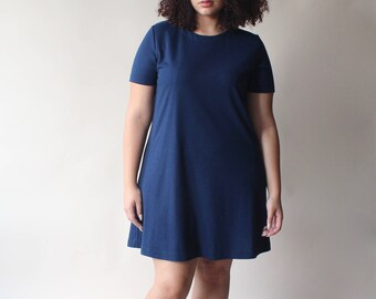 plus size vintage dress | navy swing shirt dress, size 12-16