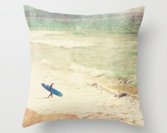 pillow cover, beach home decor, surfer throw pillow, California beach, blue surfboard, boys room pillow, summer, 18x18 pillow case