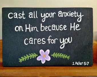 Wood Scripture Sign, Cast all your anxiety on Him, 1 Peter 5:7, Bible Verse on Wood, Scripture Wall Art, Scripture Quote, Christian Gift