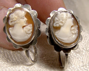 Pair Hand Carved Shell Cameo 800 Silver Earrings 1940s