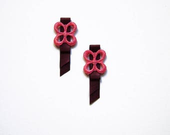 2 satin and embroidered pink 50mm and Garnet flower appliques