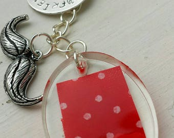 "Hand Stamped and Resin Romantic  Keyring gift ""Boyfriend Material"""