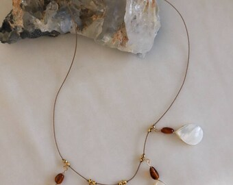 Mother of Pearl & Amber Necklace #15