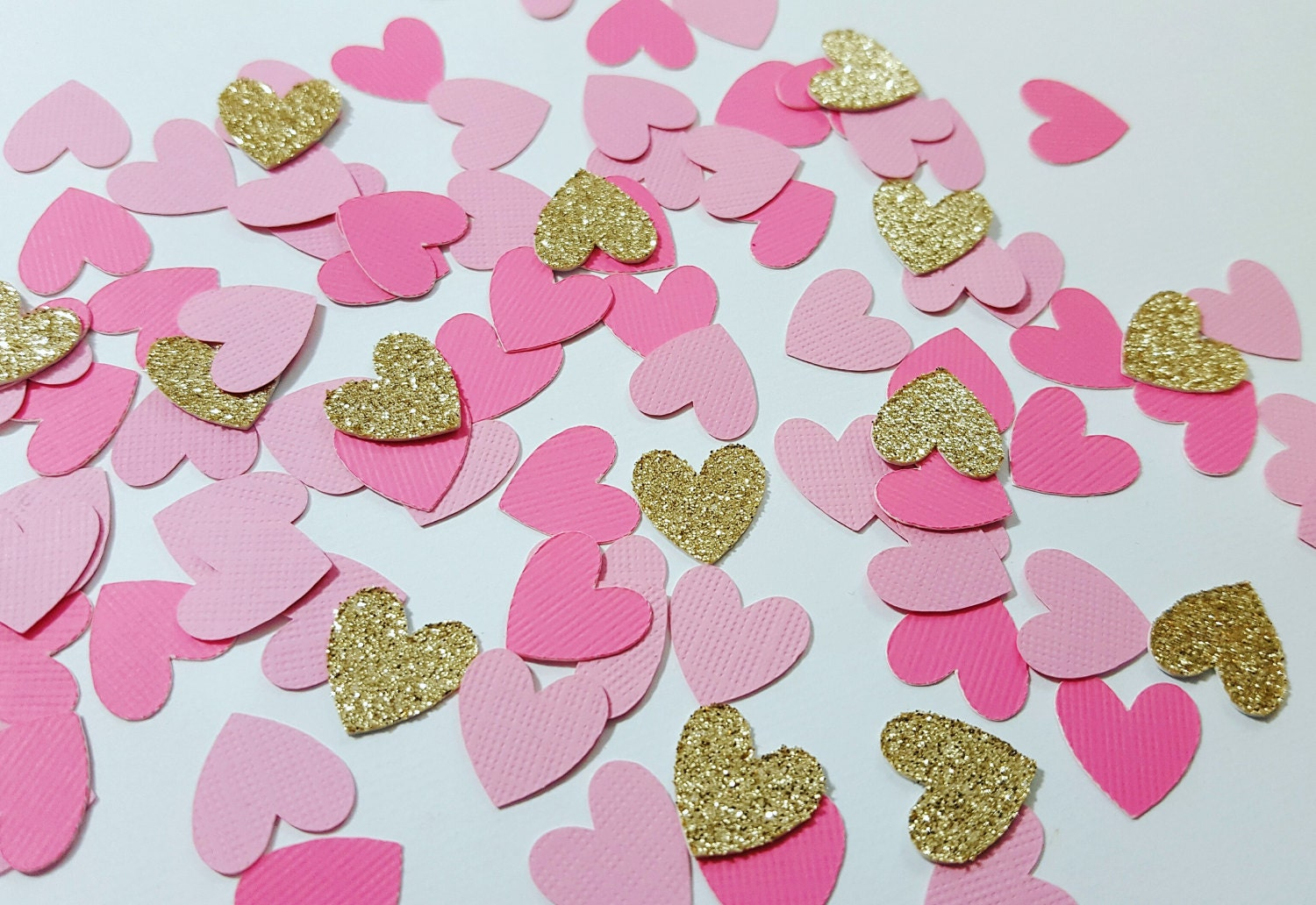 Light Pink, Medium Pink, Gold or Silver Glitter Heart Confetti ...