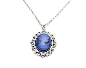 Blue Cameo Necklace, Silver Cameo Pendant, Victorian Jewelry, Cameo Jewelry, Victorian Cameo, Old Fashioned Cameo, Silhouette Cameo