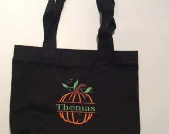 Personalized Black Cotton Trick or Treat Bag Pumpkin Design with your name