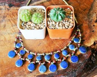 ETHNIC necklace ethnic necklace LAPIS LAZULI brass necklace lapis necklace gift for her gift for her Christmas gift christmas gift