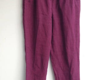 Vintage 70s / 80s High Waisted Elegant Wine Linen Trousers