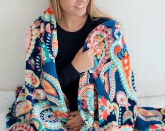 Blue Paisley Pattern Plush Blanket - Personalized Paisley Minky Blanket - Dorm Throw Blanket - College Dorm Blanket - Personalized Blanket