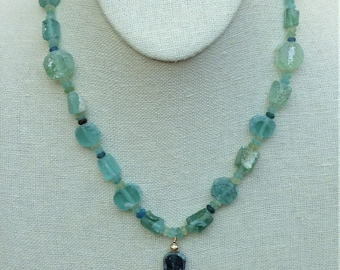 Ancient Roman Glass Discs, Shards and Rondelles with Hancrafted Bronze Mermaid Pendant Necklace