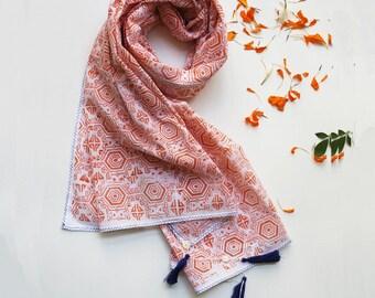 Leela block printed cotton scarf in Orange