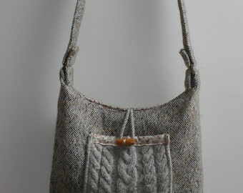 Brown tweed shoulder bag with cable knit front pocket and tea-dyed ditsy floral trim