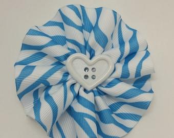 Blue Zebra handmade hair bow