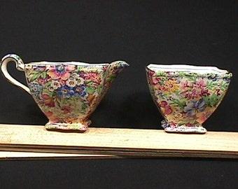 Vintage Royal Winton Porcelain (Chintz) Sunshine Pattern Cream & Sugar in Great Original Condition