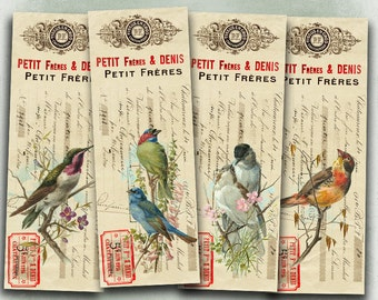 75% OFF SALE Petit Birds - Digital bookmark B019 collage sheet printable download image size digital image birds collage vintage hang tags