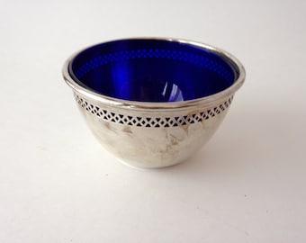 Vintage 1960's Birks Sterling Silver & Cobalt Blue Condiment Bowl