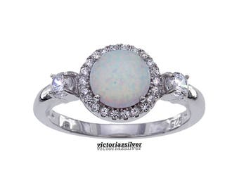 925 Sterling Silver Opal Ring, Pave Silver Opal Ring,White Opal Silver Ring