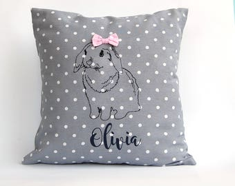 Embroidered bunny pillow, Personalized Easter Bunny, Personalized Baby Pillow, Custom Embroidered Pillow, Bunny Nursery Pillow