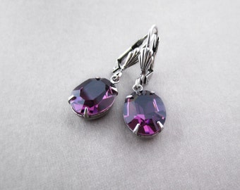 Crystal Earrings Deep Purple Rhinestone Transparent Jeweled Earrings Silver Plated Brass Oval Glass Jewel Faceted Elegant Glam Gift for Her