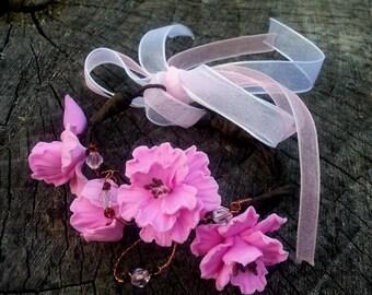 Sakura Bracelet - Flowers Bracelet - Polymer clay Bracelet - Wedding Bracelet - Pink Flower Bracelet - Handmade Jewelrylimanska Bracelet