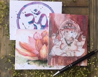 6 notecards, Buddha, Assorted spiritual Note cards blank, OM, Ganesh,