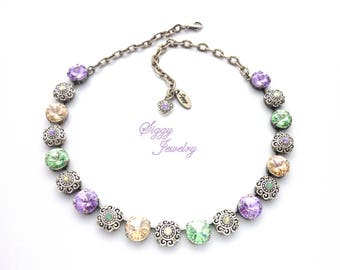 Swarovski® Crystal Flower Necklace, 12mm Soft Spring Pastels, Ornate Filigree Swarovski Embellished Flowers, Assorted Finishes, PRIMAVERA