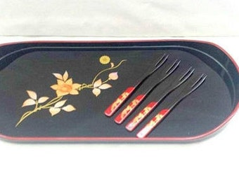 Vintage Lacquerware Sushi Tray, Lacquerware Forks, Lacquer Appetizer Tray,Snack Tray, Black Lacquerware, Asian Tray,Lacquer,MCM, Japan,1960s