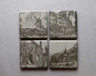 Coaster set of 4. Laser Engraved /Etched. Ceramic tiles. Old World. Each coaster 4.5 in. x 4.5 in. and .25 in. thick