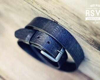 Custom Leather Belt, Handmade personalized gift, Black stain, Tribal pattern, full grain leather belt, Men's Leather Belt, aztec