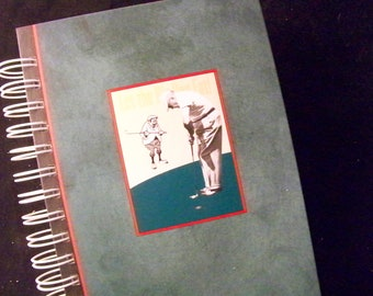 Golf journal diary planner altered book Let the Big Dog Eat golfing book journal