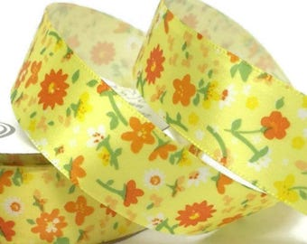 22mm Yellow Floral Ribbon