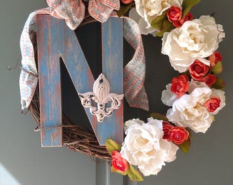Custom letter N wreath.