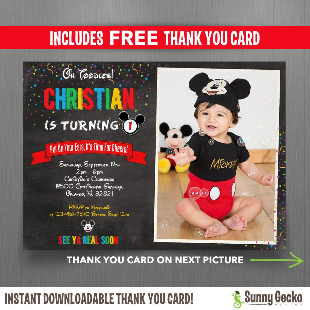 Disney Chalkboard Style Mickey Mouse 7x5 in. Birthday Party