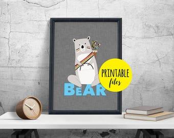 Bear Nursery Art, Bear Wall Art, Boy Nursery Decor, Woodland Nursery decor, Bear Nursery decor, Printable Bear Print, Bear Wall decor