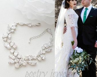 Zirconia Bridal Crystal Bracelet, Wedding Bracelet for Bride, Rose Gold Bracelet, Gold Bracelet, Wedding Jewelry for Brides, Nicole