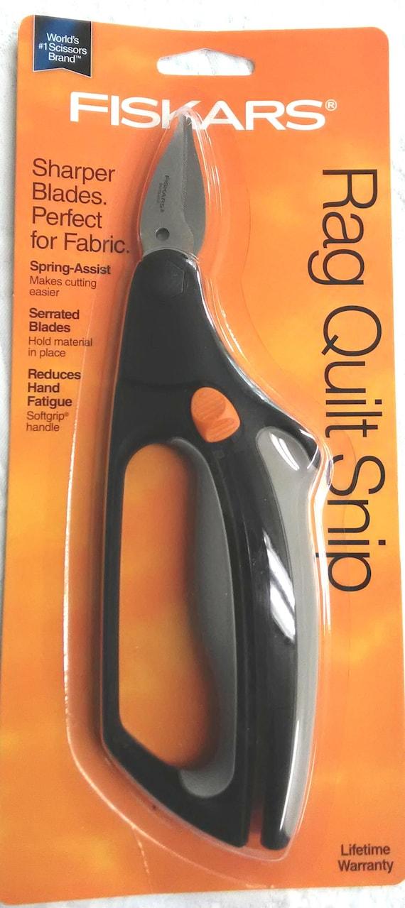 Fiskars Rag Quilt Snip Spring Assist Scissor Serrated Blades Soft