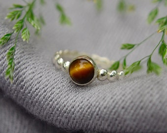 Silver Stacking Ring with Tiger's Eye Gemstone, Bridesmaid Gift, Tiger's Eye Ring with Choice of Half Round, Round or Half Bead Band