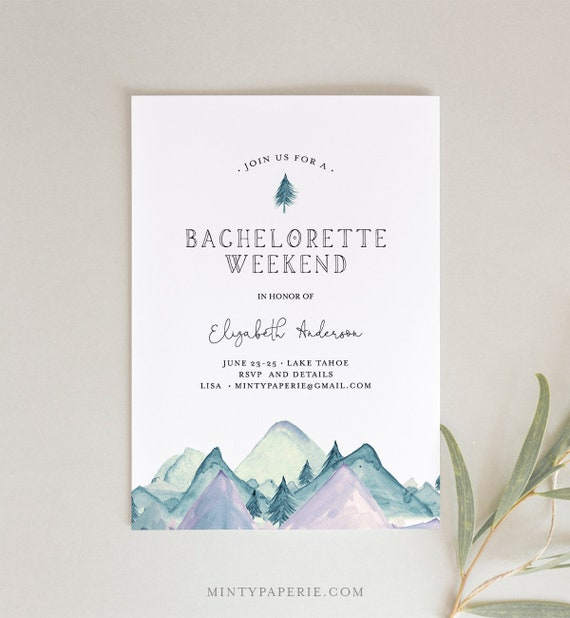 Mountain Retreat Bachelorette Weekend Invitation & Itinerary Template, Cabin, Camping, Lake Party, INSTANT DOWNLOAD, Editable Text #121BP