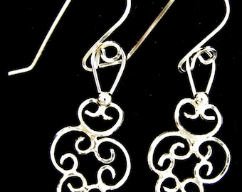 Sterling Silver Plain Wire Filigree Earrings