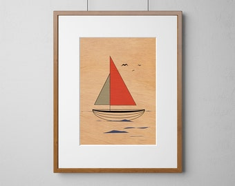 Red Sail Boat Print | Wood Wall Art | Mahogany Wood |  A3 or 12 x 16 Inch | Free Shipping Worldwide