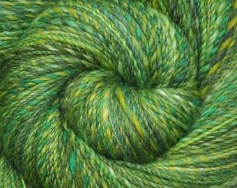 Hand spun yarn - Handpainted  silk / Polwarth wool, fine sport weight, 355 yards - Emergent Leaves