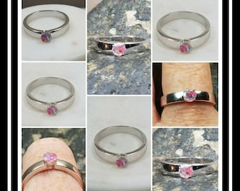 Memorial Ash Round Sterling Silver Solitare Cremation Ring /Memorial Ash Cremation Ring/Pet Memorial/more than 90 Color Options