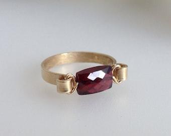 Customised Puff Garnet Ring On 14k Gold Fill Band